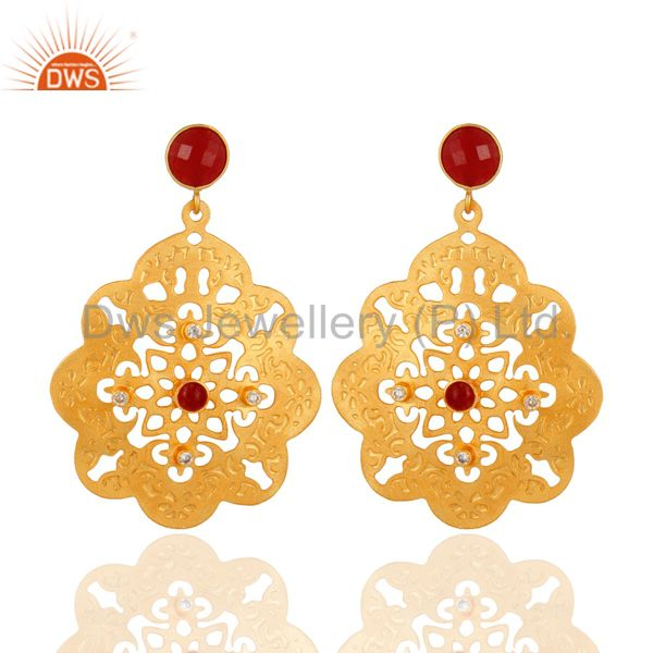 CZ & Aventurine Gemstone 22K Gold Over Brass Handmade Filigree Designs Earrings