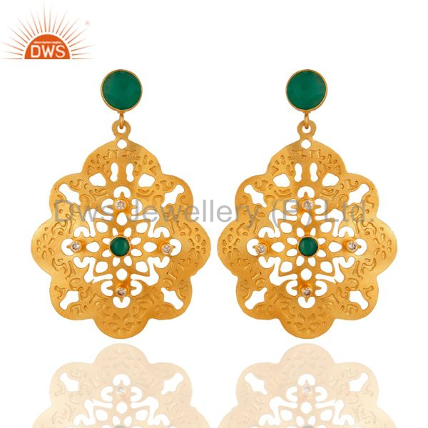 24K Yellow Gold Plated Green Onyx Gemstone Designer Fashion Earrings With CZ