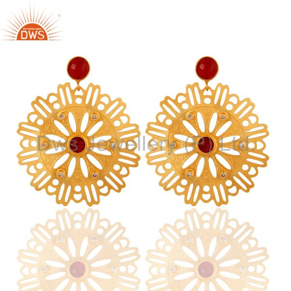 Red Aventurine Gemstone Earrings - Handcrafted Gold Plated Fashion Jewelry