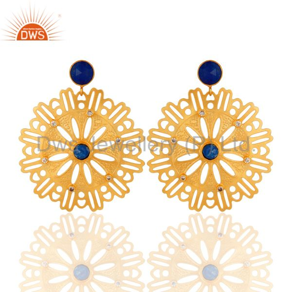 14K Gold Plated Brass Blue Aventurine And Cubic Zirconia Designer Earrings