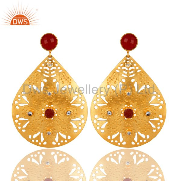 22K Yellow Gold Plated Textured Design Red Aventurine Dangle Earrings