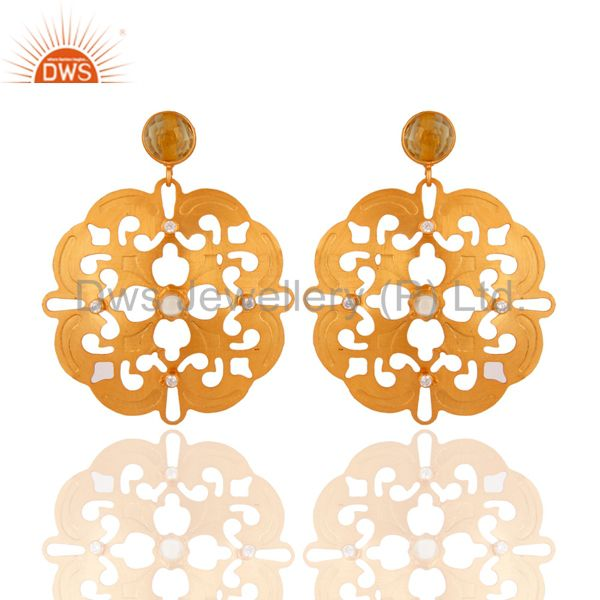 Indian Artisan Unique Handcrafted 24K Gold& CZ Earring