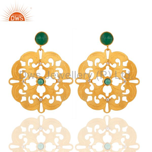 Green Onyx Gemstone Handmade Earrings - Yellow Gold Plated Designer Jewelry