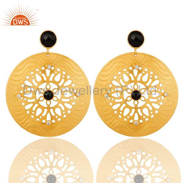 22k Gold Plated Handmade Filigree Designer Black Onyx Dangle Earrings
