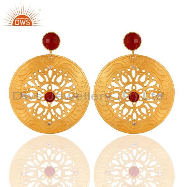 22k Gold Plated Handmade Filigree Disc Designer Red Aventurine Dangle Earrings
