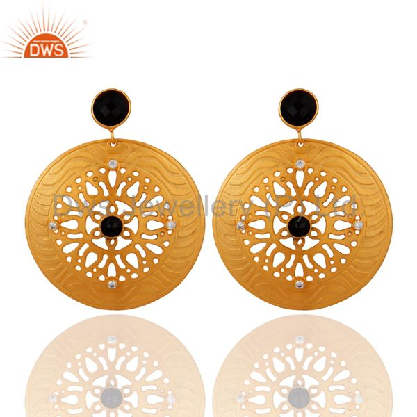 Handmade 18k Yellow Plated Black Onyx Gemstone Filigree Design Drop Earrings