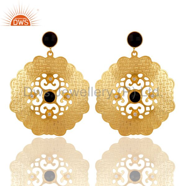 Handmade 18K Yellow Gold Plated Designer Earrings With Black Onyx And CZ