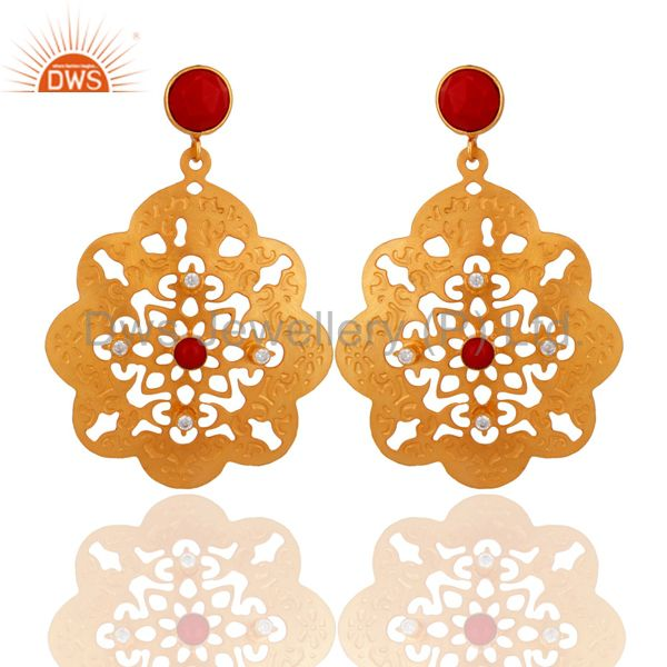 Indian Handcrafted 18K Yellow Gold Plated Coral Gemstone Filigree Design Earring