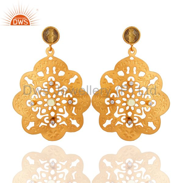 18K Yellow Gold Plated Natural Lemon Topaz Gemstone Filigree Earrings