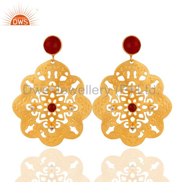 Handmade Red Aventurine Yellow Gold Plated Filigree Dangle Earrings