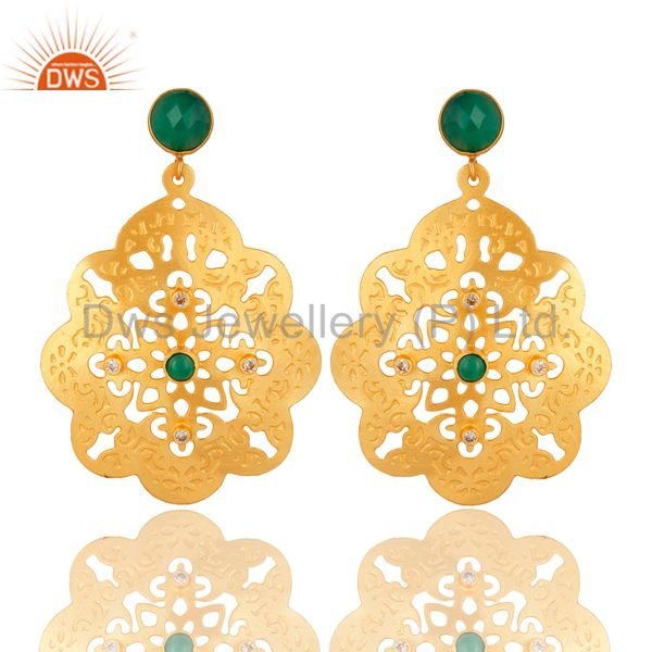 24K Yellow Gold Plated Green Onyx Gemstone Filigree Disc Dangle Earrings