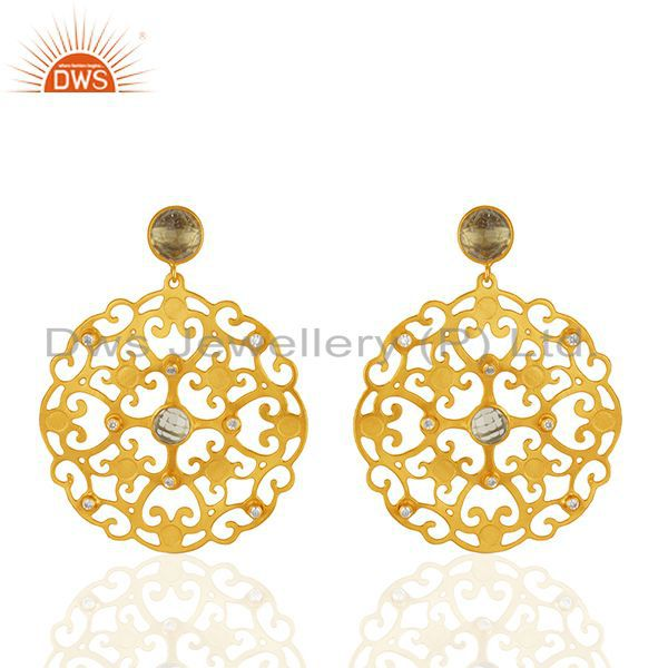 24K Gold Plated Brass Lemon Topaz And CZ Filigree Design Dangle Earrings
