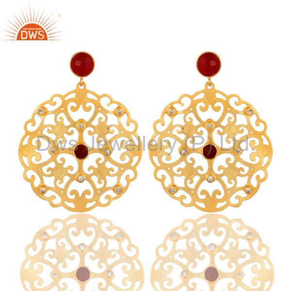 24K Yellow Gold Plated Red Coral Filigree Disc Designer Earrings With CZ