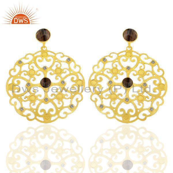 24K Gold Plated Brass Smoky Quartz And CZ Filigree Design Disc Dangle Earrings