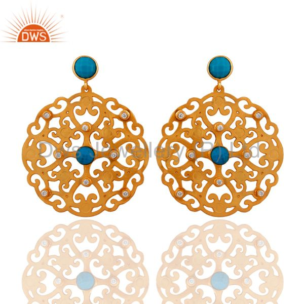 24K Yellow Gold Plated Brass Turquoise And CZ Filigree Disc Design Drop Earrings
