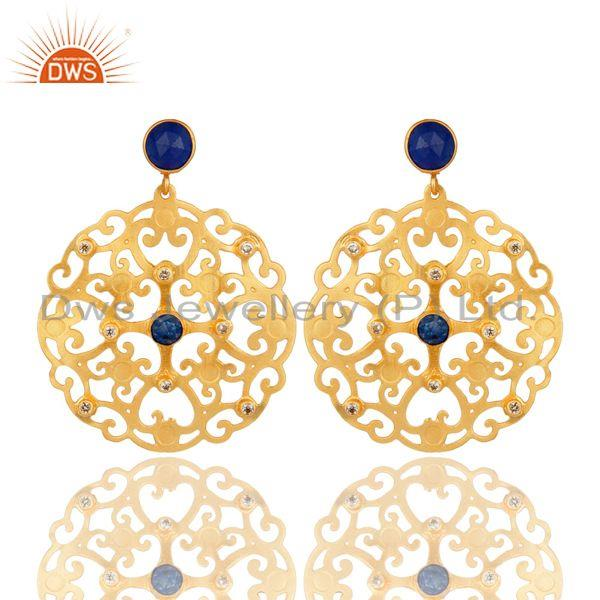24K Yellow Gold Plated Blue Aventurine Filigree Disc Designer Earrings With CZ