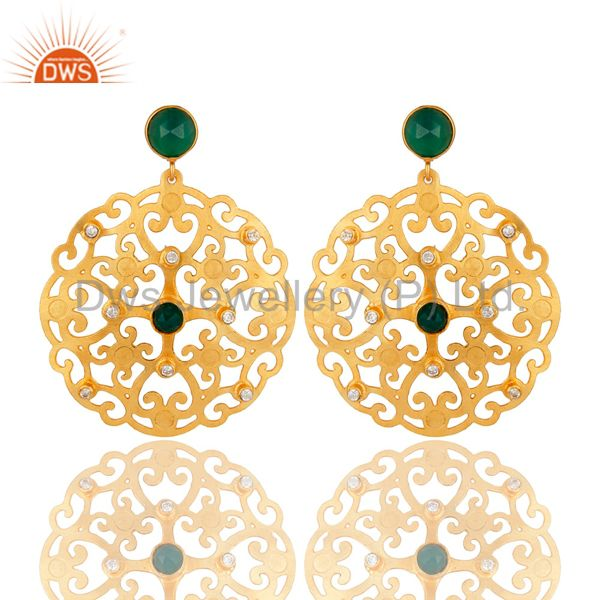 24K Yellow Gold Plated Green Onyx Filigree Disc Designer Earrings With CZ