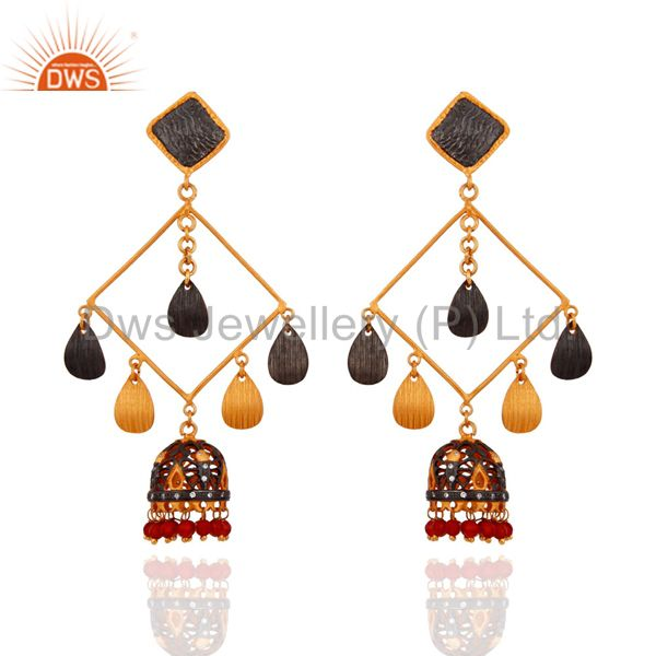 Quality Red Onyx Gemstone 18-karat Yellow Gold Plated Ladies Dangle Earrings