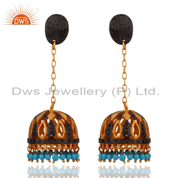 Natural Turquoise Gemstone Bead 24k Yellow Gold Plated Jhumka Style Post Earring