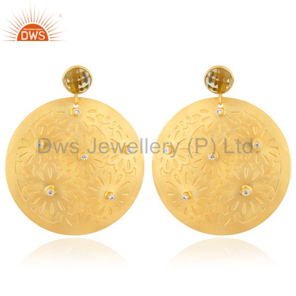 Solid Brass Metal 18k Gold Toned Lemon Quartz Disc Design Circle CZ Stud Earring