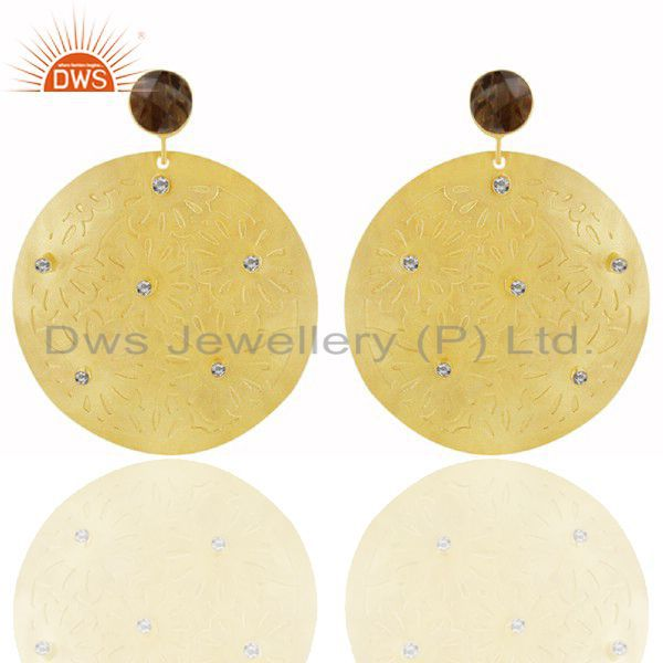 24K Yellow Gold Plated Brass Smoky Quartz And CZ Disc Design Dangle Earrings