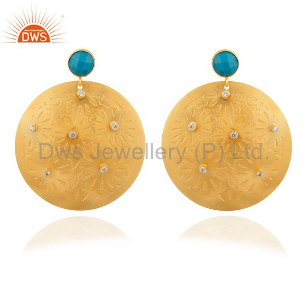 Handmade Turquoise And CZ 22K Yellow Gold Plated Brass Disc Dangle Earrings