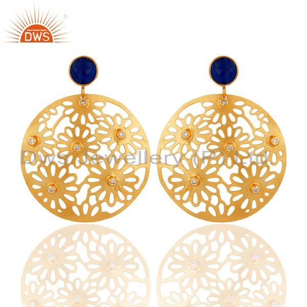 Aventurine & Cubic Zirconia 18k Yellow Gold Plated Filigree Disc Dangle Earring