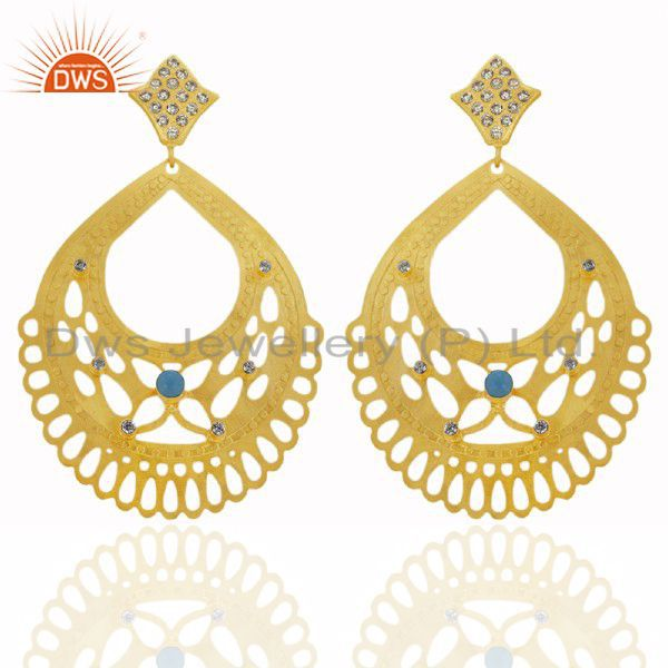 24K Yellow Gold Plated Brass Turquoise And CZ Filigree Design Drop Earrings