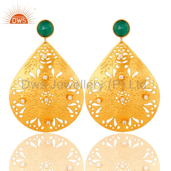 18K Yellow Gold Plated Green Onyx & CZ Filigree Design Dangle Earrings