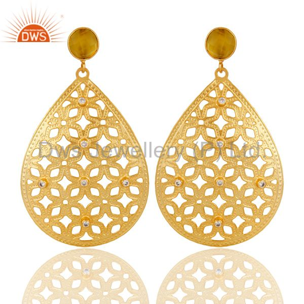 Handmade Filigree 24K Gold Plated Chalcedony Gemstone & CZ Drop Brass Earring