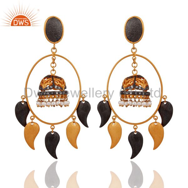 Natural White Pearl Ladies Dangle Earrings With 18K Yellow Gold plated Jewelry
