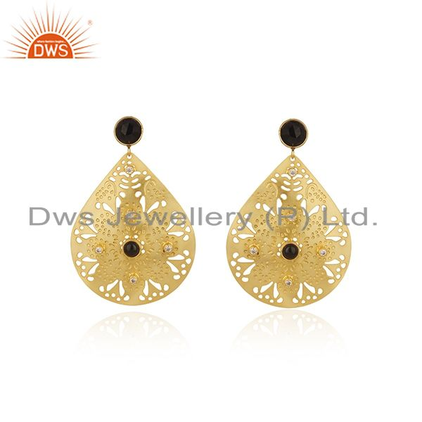 Handmade 22K Gold Plated Black Onyx Gemstone Filigree Earring With White Zircon