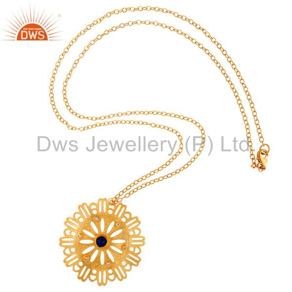 Blue Aventurine And White Zircon Yellow Gold Plated Designer Pendant With Chain
