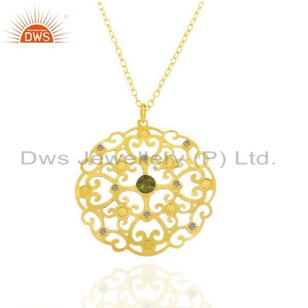22K Gold Plated Brass Filigree Lemon Topaz And CZ Fashion Pendant With Chain
