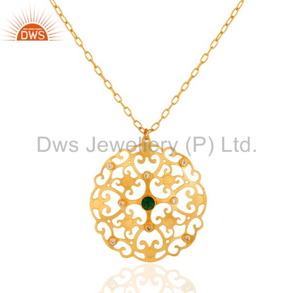 Handmade Gold Plated Green Onyx Gemstone Designer Pendant Necklace With CZ