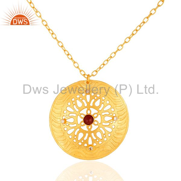 Handmade Red Aventurine Gemstone Circle Design Pendant Necklace - Gold Plated