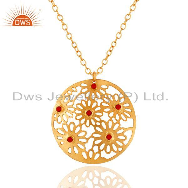 14K Yellow Gold Plated Over Brass Red Coral Filigree Design Pendant Necklace