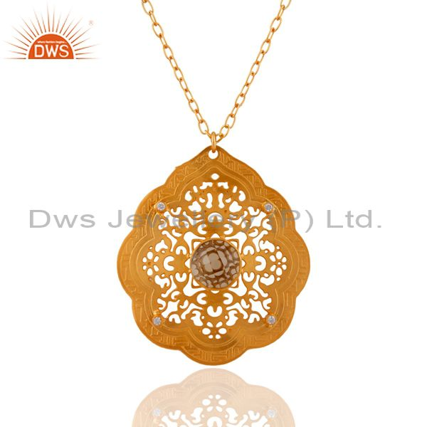 Handmade Filigree Design 18k Gold Plated Lemon Topaz Pendant With White Zircon