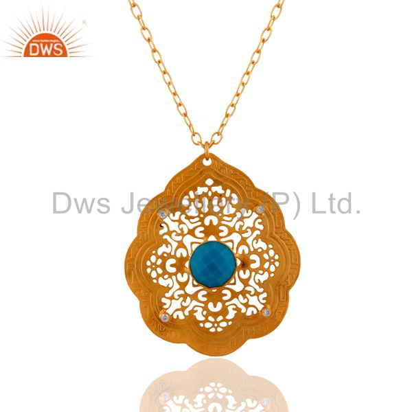 Handmade 22k Yellow Gold Plated Turquoise Gemstone Designer Pendant Necklace