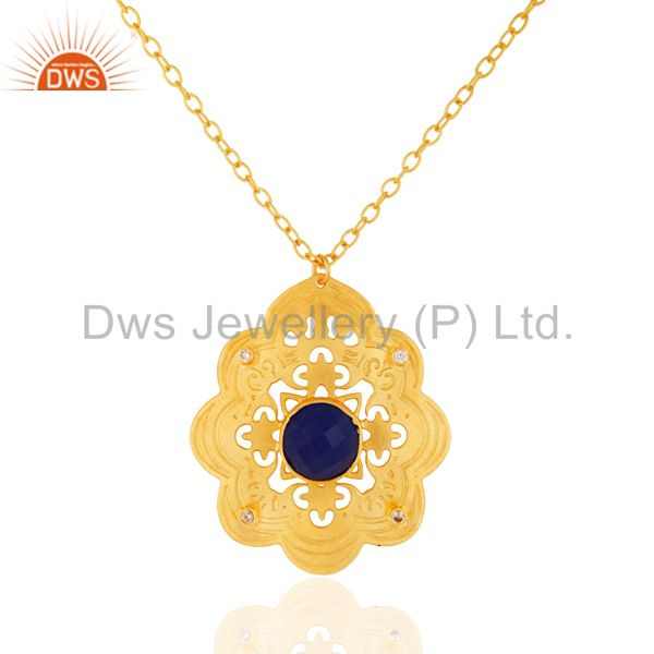 Handcrafted blue aventurine & white zircon gold plated designer pendant necklace