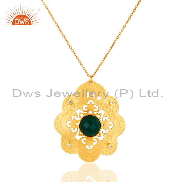 Green Onyx And Cubic Zirconia Handmade Designer Pendant Necklace - Gold Plated