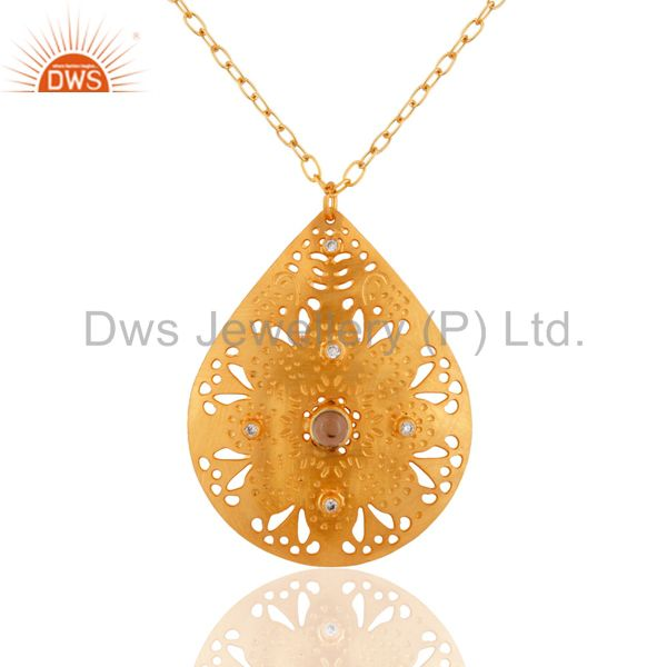 18K Gold Plated Handmade Lemon Topaz Gemstone Filigree Designs Pendant Necklace