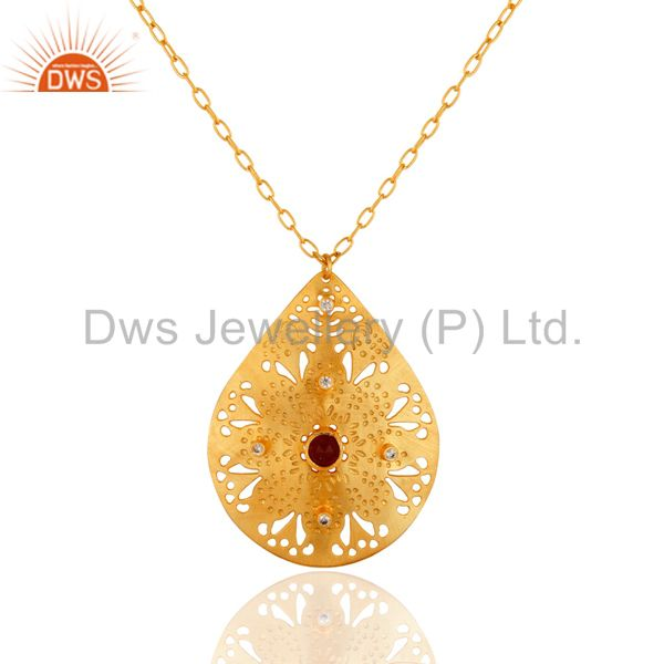 Red Aventurine Designer Style Filigree Hammered Teardrop Pendant - Gold Plated