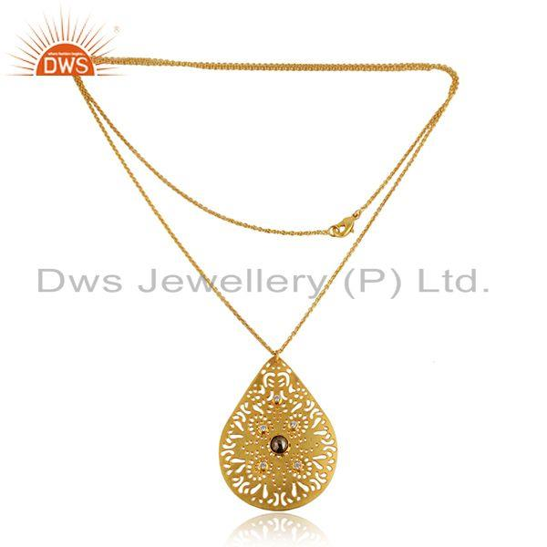 CZ Pyrite Gemstone Filigree Design Gold Plated Brass Fashion Pendant
