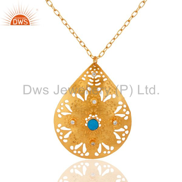 24K Gold Plated Over Brass Turquoise Gemstone Filigree Designer Pendant