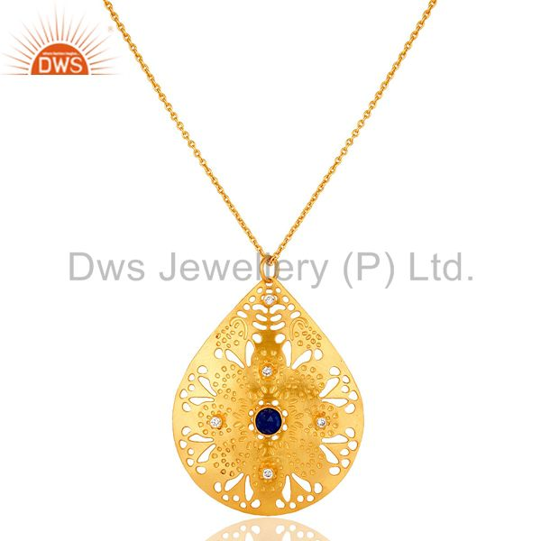 24K Gold Plated Over Brass Aventurine & CZ Gemstone Filigree Designer Pendant