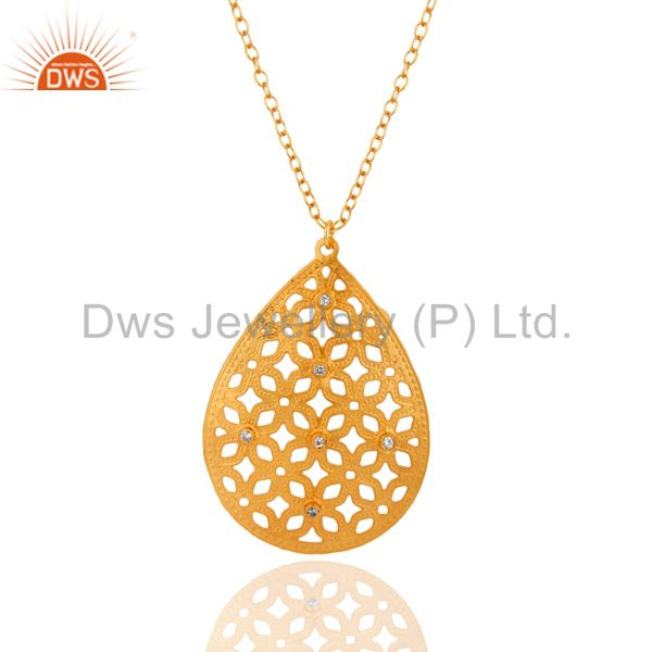 Indian Artisan Crafted 22K Gold Plated White Zircon Filigree Designer Pendant