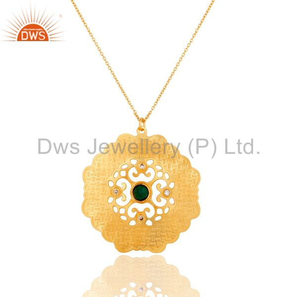 18K Gold Plated Brass Green Onyx And CZ Fashion Disc Pendant With Chain
