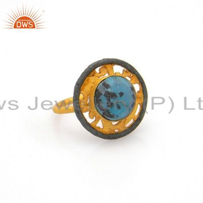18K Yellow Gold Plated Brass Chrysocolla Gemstone Designer Cocktail Ring