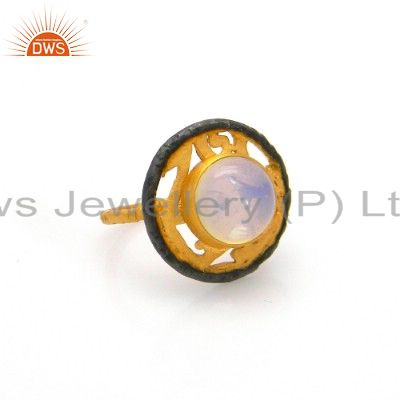 18K Yellow Gold Plated Brass Opalite Gemstone Designer Cocktail Ring